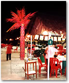 Tiki Huts with Lighted Palm Trees all around draw attention